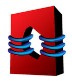 Red square blue bands Royalty Free Stock Image