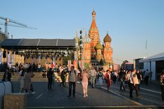 The Red Square Book Fair in Moscow. Actors read famous literature books. The Red Square Book Fair in Moscow. Place: Moscow, Red Square. Free entrance public royalty free stock photo