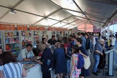 The Red Square Book Fair in Moscow. royalty free stock image