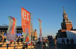 The Red Square Book Fair in Moscow. Place: Moscow, Red Square. Free entrance public event. Color photo. Date: June 04, 2019 royalty free stock photos