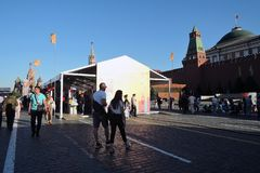 The Red Square Book Fair in Moscow. Place: Moscow, Red Square. Free entrance public event. Color photo. Date: June 04, 2019 stock photos