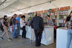 The Red Square Book Fair in Moscow. Place: Moscow, Red Square. Free entrance public event. Color photo. Date: June 04, 2019 stock image