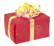 Red square box with golden bow Stock Images