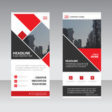 Red square Business Roll Up Banner flat design template ,Abstract Geometric banner template Vector illustration set, abstract Royalty Free Stock Images