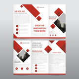 Red square business trifold Leaflet Brochure Flyer report template vector minimal flat design set, abstract three fold. Presentation layout templates a4 size Stock Photo