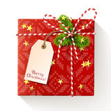 Red square christmas gift box with tag Stock Photo