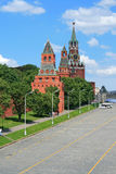 Red Square and clock tower at noon. Red Square and clock tower Royalty Free Stock Photo