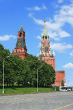 Red Square and clock tower at noon. Red Square and Spasskaya tower at noon Stock Image