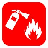 Red fire extinguisher vector sign. Red square fire extinguisher vector sign Stock Images