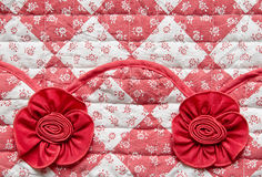 Red Square with Flowers and Rose Fabric Texture Royalty Free Stock Photos
