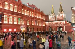 The Red Square full of people with the State Historical Museum at Christmas time. Moscow, Russia-January 07:The Red Square full of people with the State Royalty Free Stock Photos