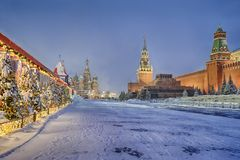 Free Red Square In Morning Twilight After Heavy Snowfall Stock Image - 144896321