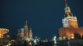 Red Square Kremlin Clock Kremlin wall, Saint Basil`s Cathedral, traditional fair stock video footage