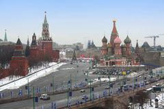 Red Square with the Kremlin and St Basils Cathedral Stock Photo