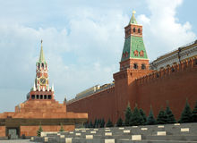 Red Square with Kremlin wall in Moscow Russia Stock Images