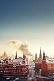 Red Square and Kremlin during winter frosty day Stock Image