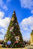 Red Square. A large Christmas tree dressed up for Christmas and New Year 2019 in front of GUM. Moscow, Russia. stock photography