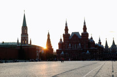 Red Square in Moscow. At the evening with dawn sun Stock Photography