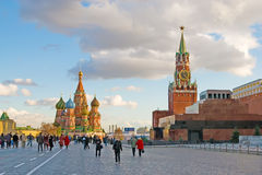 Red Square in Moscow. Tourists on the Red Square in Moscow, capital of Russia Stock Photo