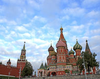 Red Square in Moscow. Spasskaya Tower of the Moscow Kremlin and Cathedral of Basil Blessed in Moscow. The most famous symbol of Moscow Stock Images