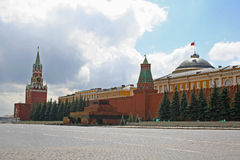 Red Square, Moscow. View of the Red Square, two towers an part of the wall of the Moscow Kremlin Royalty Free Stock Photography