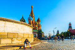 On Red Square. Red Square of Moscow in the early evening. The Place of execution and St. Basil's cathedral. In fact, it was the place of announcing of the tsar royalty free stock image