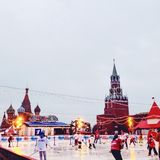 Red Square Moscow katok hockey december christmastime stock image