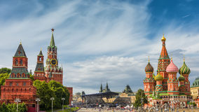 Red Square in Moscow. Kremlin and Cathedral of St. Basil in the Red Square in Moscow, Russia royalty free stock photos