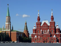 Red Square, Moscow, Russia. History Museum and Kremlin's tower at Red Suare in Moscow, Russia royalty free stock images