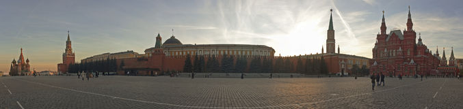 Red Square in Moscow, Russia. Panorama view. Red Square, Kremlin and St. Basil Cathedral in Moscow in the evening. Point of interest in Moscow, Russia royalty free stock photography