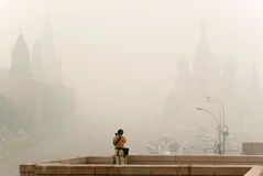 Red Square in Moscow under smog Royalty Free Stock Image