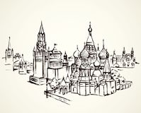 Red Square, Moscow. Vector drawing. Aged spasskaya downtown place with medieval edifice. Freehand outline black ink hand drawn picture sketchy in art retro Royalty Free Stock Photo