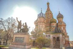 St. Basil`s Cathedral in the morning sun. royalty free stock images