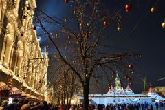 Red Square in Moscow, winter christmas decoration, Russia Stock Images