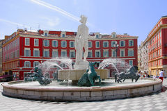 Red square in Nice called Place Masséna Stock Image