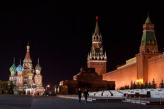Red Square at night. Night view of Red Square, St Basil's Cathedral and Towers of Kremlin. Moscow, Russia stock photos
