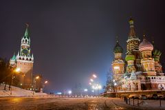 Red Square at night Stock Images