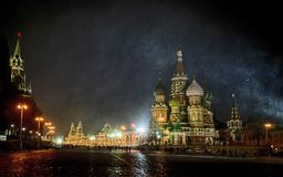 Red square, night, blizzard, moscow, russia. Blizzard, people, snow, the Cathedral of the Basil of Blessed Stock Photos