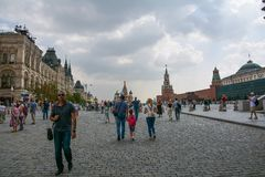 Red Square. People on Red Square. Moscow, Russia Royalty Free Stock Images