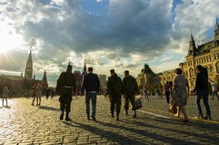 Red square. People in red square at sunset, MOSCOW Royalty Free Stock Images