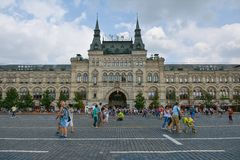 Red Square. People on Red Square, view to GUM - old shopping centre, Moscow, Russia Stock Photos