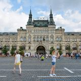 Red Square. People on Red Square, view to GUM - old shopping centre, Moscow, Russia Royalty Free Stock Photos