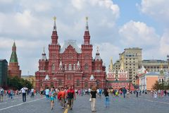Red Square. People walking  on Red Square. Moscow, Russia Royalty Free Stock Image
