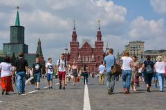 Red Square. People walking  on Red Square. Moscow, Russia Stock Image