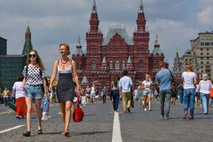 Red Square. People walking  on Red Square. Moscow, Russia Stock Photography