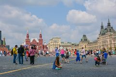 Red Square. People walking  on Red Square. Moscow, Russia Royalty Free Stock Photography