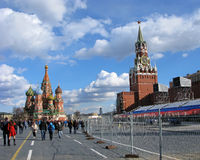 Red Square. Preparing for Victory Day. Royalty Free Stock Photography