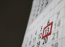 Friday 13th. Red square reminder on calendar on friday 13th|unluck|bad luck|superstition royalty free stock photography