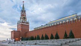 Red Square, Saviour Tower and Kremlin wall in Stock Image