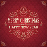 Red Square Shaped Christmas and New Year's Greeting Card Royalty Free Stock Photos